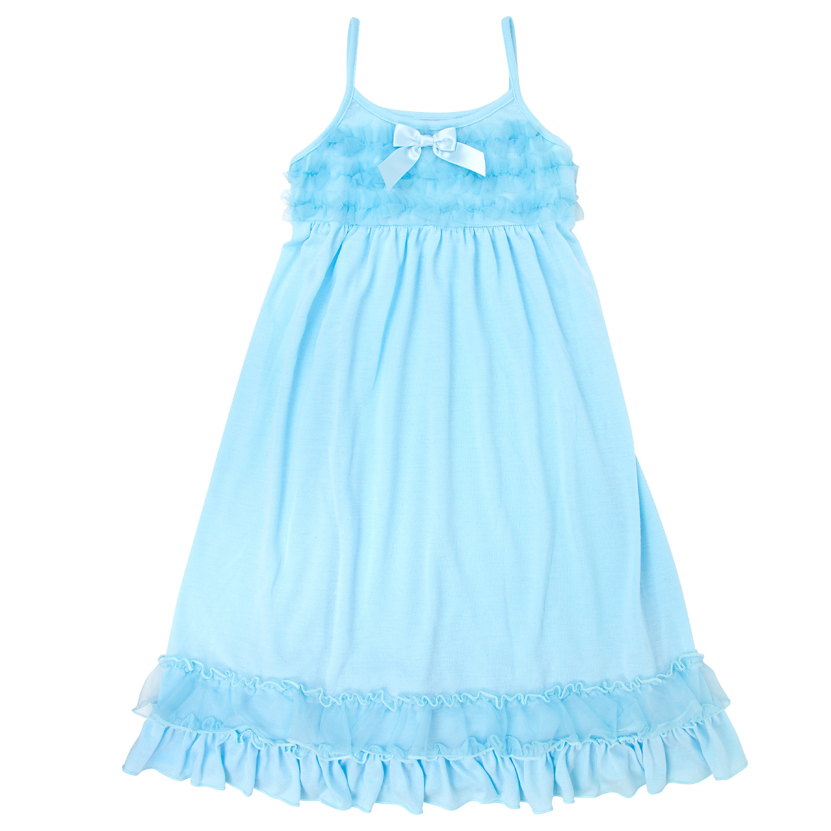 Ice Blue Strappy Gown with Sheer Ruffles