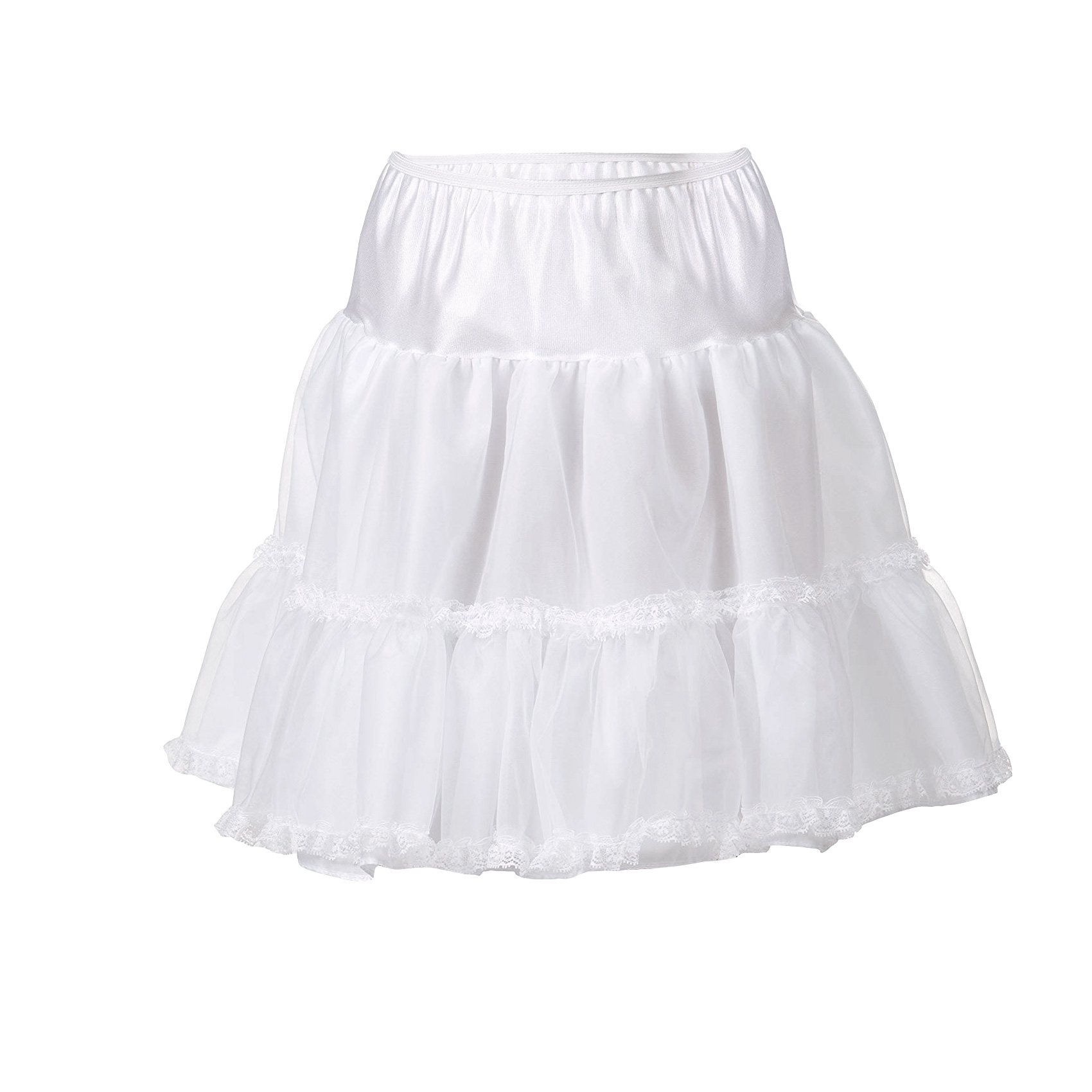 I.C 2T 6x Collections Little Girls Lace Embellished White Bouffant Half Slip