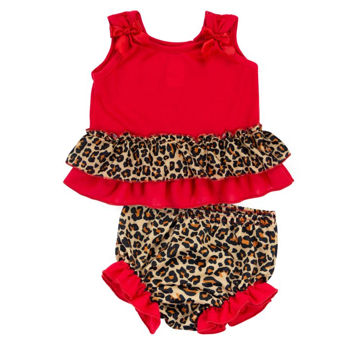Leopard Bow Top Diaper Set