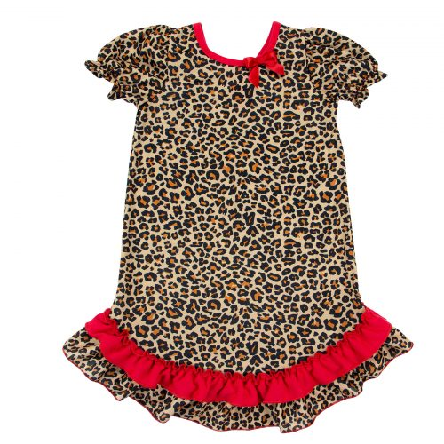 Leopard Puff Sleeve Gown Front